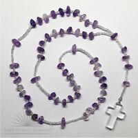 Amethyst Crystal Rosary Beads with Clear Quartz Crystal Cross Casa Brazil