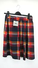 ASOS Red Checked Tatan Pleated Skirt Celtic Zip Midi High Rise New With Tags 10