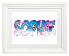 White Framed Art Print Picture with Mount Frozen Elsa Personalised Name Letters