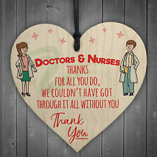 Doctors And Nurses Thank You Wooden Hanging Heart Cute Plaque Gift Hospital Sign