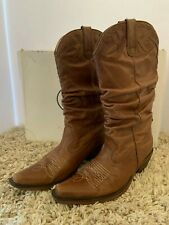 NEW Steve Madden Saddle Brown Man Made Leather Cowboy Boots Women's Sz 8.5 M
