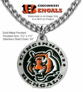 """LARGE CINCINNATI BENGALS NECKLACE 24"""" STAINLESS STEEL CHAIN NFL - FREE SHIP  #R"""