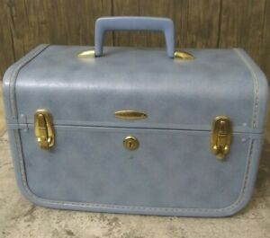 Vintage Sears Taperlite Blue Train Case Cosmetic Makeup Trunk Hard Sided Luggage