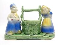 VINTAGE 1940s SHAWNEE POTTERY DUTCH JACK & JILL WISHING WELL FLOWER POT PLANTER