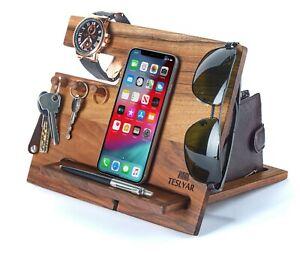 Wood Phone Docking Station Walnut Hooks Key Wallet Watch Holder Organizer