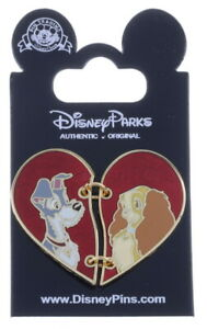 2016 Disney Lady and the Tramp Two Piece Heart Pin With Packing N3