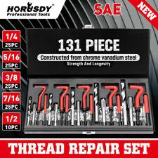 """131Pc Thread Repair Kit HSS Drill Helicoil Repair Kit SAE 1/4"""" 5/16"""" Inch W/Case"""