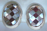 Mosaic Mother of Pearl MOP Clip On Earrings