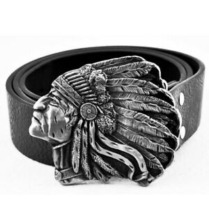 Mens Leather Belt Belts Native American Indian Chief Rodeo Cowboy Western Buckle