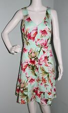NWT Womens Chaps Light Turquoise Floral V Neck Fit & Flare Dress Sz 14