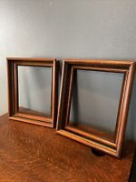 "Pair Of Antique Shadow Box Picture Frames  Walnut 14 1/2"" X 12 1/2"""