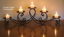 Wrought Iron Candle Holder Black Rustic Country - Teardrop 5 cup CF18 Min Second