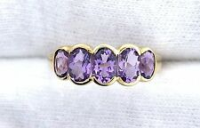 10Kt REAL Yellow Gold Oval Amethyst Gem Stone Gemstone Ladies Fashion Ring