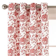 "*JCPenney Home Flora Grommet-Top Curtain Window Panel 50""Wx84""L White/Red NEW"