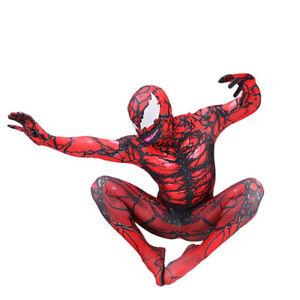 New Venom Carnage Jumpsuit Cosplay Costume Bodysuit Halloween Zentai Adult/Kids