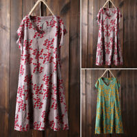 UK Women Short Sleeve V Neck Mini Dress Floral Printed Summer Ladies Shirt Dress