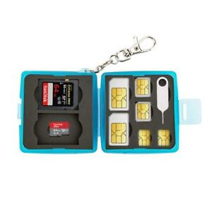Memory Card Holder Storage Case For Micro SD SDHC SDXC & Sim Card with Keychain