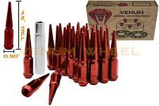 32 Red Spike Lug Nuts 14x1.5 + 1 Key Fits Ram 2500 3500 Silverado 2500 3500 GMC