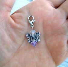 Angel Clip On Charm Lobster Clasp Zipper Pull June Amethyst Butterfly Fairy