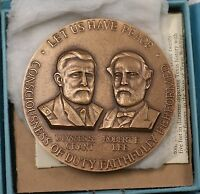 1961-1965 Civil War Generals Grant and Lee Large Bronze Centennial Comm Medal