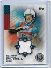 2014 TOPPS OLYMPIC ERIN HAMLIN SILVER RELIC CARD /50 ~ LUGE ~ US FLAG BEARER