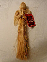 "Angel Praying Hanging 12"" Raffia Gold Sparkle Strands New Holiday Time decor"
