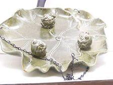 Ceramic Bird bath/feeder, Hear, speak, see no evil.