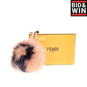 RRP €775 FENDI ROMA Fox Fur Pom Pom 'R' Charm / Keyring Two Tone Made in Italy
