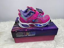 S Lights Powered by Skechers Neon Pink Multi Light up Shoe Girls Size 11 Shimmer