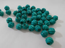 100pcs 10mm WOODEN Grooved Round Beehive Beads -  TURQUOISE BLUE Wood Jewellery