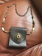 Vintage Antique Leather Handmade Bag Purse with Stones Unique