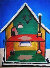 Fantasy Original House painting Ski Lodge 'Little House' on canvas log cabin