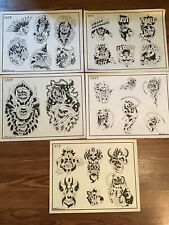 Lot Of 5 Vintage Spaulding & Rogers Circa 1984-1989 Tattoo Flash Sheets GUC