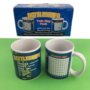 Battleships Game Twin Mugs Pack Strategy Skill Enemy Drinking 2 Cups Boat War
