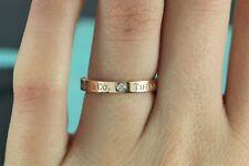 $1,150 Tiffany & Co Signature 18K Rose Gold 3 Round Diamond 3mm Band Ring Sz 6.5