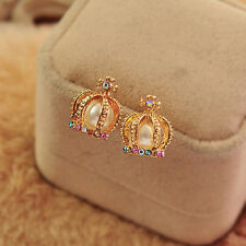 1Pair Fashion Womens Elegant Rhinestone Imitation Pearl Crown Ear Stud Earrings