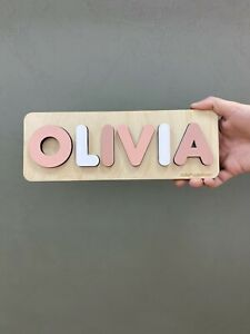 Gift for Kids Personalized Name Puzzle Wooden Toddler Toys - Montessori Learning