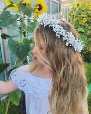 Gypsophila Baby's Breath Flower Crown Halo Hair Band Choochie Choo Bride Bridal