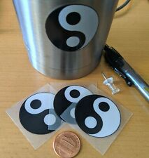 "Yin Yang Decal Stickers (4) 1.5"" Diameter, Black and White"