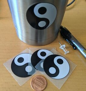 """Yin Yang Decal Stickers (4)1.5"""" Diameter, Black and White"""