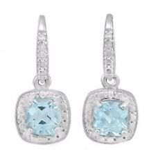 GENUINE SWISS TOPAZ AAA  & DIAMOND  EARRINGS 1.36 CWT  SILVER  WHITE GOLD LOOK
