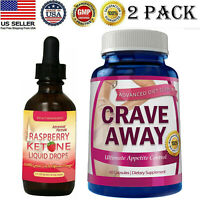 Raspberry Ketone Diet Drops Crave Away Appetite Control Weight Loss Caps Combo