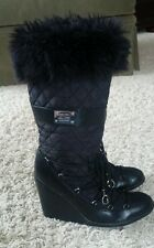 Guess Black Quilted Wedge Boots 7.5 EUC  Faux Fur