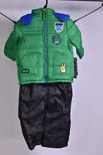 Toddler Boy's iXtreme Quilted Patches Puffer Jacket & Snow Bib Pants - Green