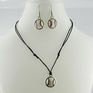 2pce Resin Cabochon Baseball Softball Necklace and Earring Set Sports Gift