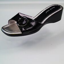 David Tate Patent Leather Wedge Sandals Slip On Shoes Size 9.5WW