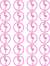 Flamingo Cupcake Wafer Paper Edible Cake Toppers x 24
