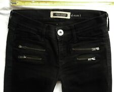 River Island Jeans Size 8 R Super skinny front zips rips ultra low rise black