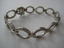 Design Clear Stones 13.9 g Estate Sterling Silver Link Bracelet Contemporary