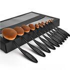 Elegant 10Pcs Professional Makeup Brushes Set Oval Cream Puff Toothbrush